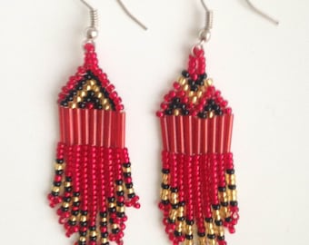 MADE IN AFRICA beaded bohemian earrings//red