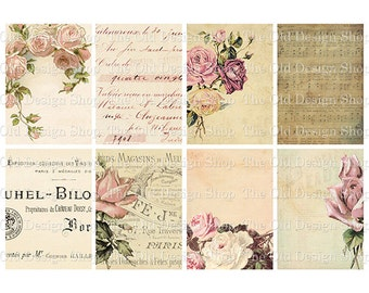 Old Roses Altered Art Cards Printable ATC Digital Collage Sheet