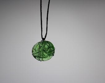 Glass Charm Wire Necklace - Pistachio