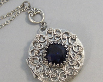 Sapphire Star,Sapphire Necklace,Sapphire Locket,Antique Locket,Silver Locket,Princess Cut.September Birthstone,BirthsotoneValleygirldesigns.