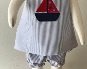 Blue and White Striped Cotton Seersucker Jumper and Bloomers