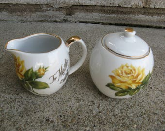 yellow rose creamer sugar To Mother With Love gold leaf made in Japan