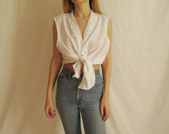 90s Pretty Sleeveless Blouse S M L