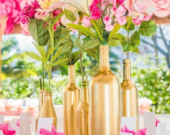 Gold Bottle Vases, Centerpieces Vases, Wedding Decor, Gold Glitter Vase, Table Decor, Gold, Silver, Champagne, Rose Gold,Glitter Flower Vase