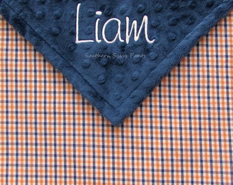 Auburn War Eagle Inspired Baby Blanket - Baby Boy Blanket , Personalized Baby Blanket - Limited Orange and Blue Gingham READ Description