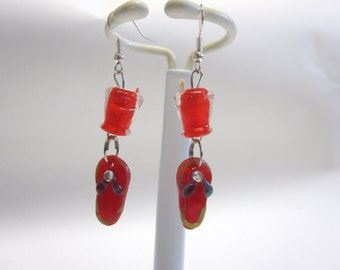 Summer Jewelry Sandals Tropical Drink Earrings Lampwork Red