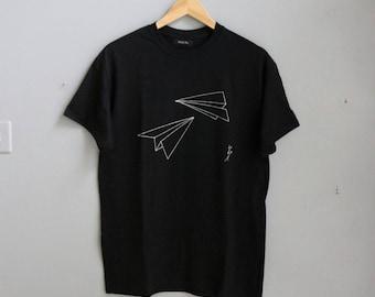 Sale! Origami Unique Gift - Paper Plane T-shirt - Jet Black