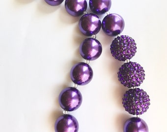 Girls necklace, girls jewelry, purple pearl necklace, girls gifts, gift ideas, chunky beaded necklace, bubblegum beaded necklace