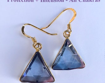 Tanzanite / Lavender  Aura Vogel - Star of David Earrings- set in 18kt Gold on Silver - A Grade !  Powerful