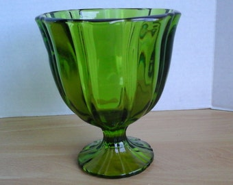 Green Footed Vase, Olive Green Pedestal Glass Vase, Mid Century