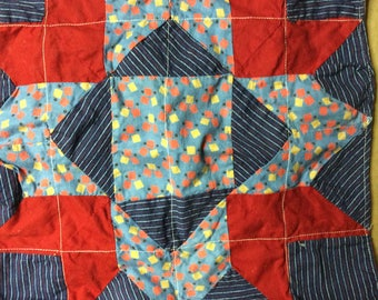Vintage 50sFabric Single Finished Quilt Square BlueNavyRedYellow Finished Solid Backing Doll Quilt Chair Pad Pillow Cover Clothing Appliqué