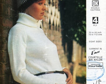 """womens 4ply / DK polo neck sweater knitting pattern PDF ladies polo neck jumper 30-44"""" womens knitting patterns pdf instant download"""
