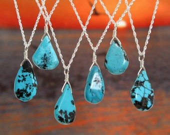 Turquoise Necklace in Sterling Silver, Genuine Turquoise Pendant,  Layering, Simple Turquoise Teardrop Pendant, Custom Length