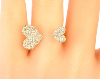 14K Yellow Gold Diamond Heart Pave Ring Anniversary Ring Fashion Ring Right Hand Ring Stackable Ring Band  Rose Gold White Gold Platinum