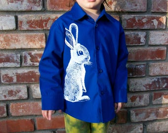 Easter Bunny royal blue dress shirt - sco screenprint in white on upcycled cotton toddler shirt - size 2T to 3T