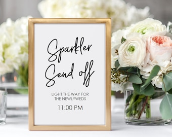 Sparkler Send Off Sign Printable - Wedding Sign Editable PDF - Instant Download - Minimalist sparkler sign - 5x7 and 8x10 inches - #GD0217