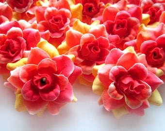 24 Flame Rainbow mini Roses Heads - Artificial Silk Flower - 1.75 inches - Wholesale Lot - for Wedding Work, Make Hair clips, headbands