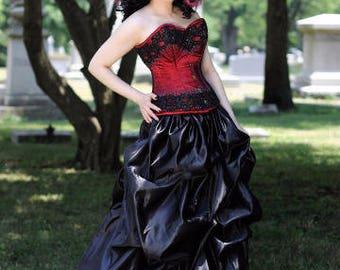 Black Bustle Pick-up Skirt Victorian Steampunk Gothic S thru XXL or custom