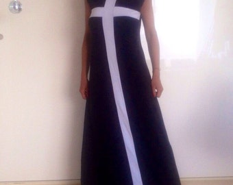 Dress/black-white dress/evening dress/coton dress/long dress/party dress