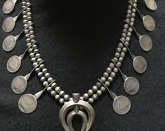 Vintage Navajo Squash Blossom Necklace 1920s