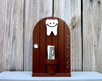 Tooth Holder, Tooth Fairy, Brown, Fairy Door, Money Holder, Kids Gift, Lost Tooth, Painted Wood, Childs Tooth