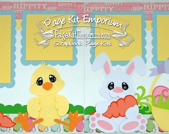 Scrapbook Page Layout Kit Easter Spring Bunny Chick Boy Girl Baby 2 page Scrapbook Layout Kit 35
