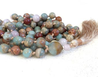 EASE EMOTIONAL STRESS - Mala Beads - African Opal Mala Necklace - Rose Quartz Mala - Earthy Mala Beads - Meditation Mala - Hand Knotted