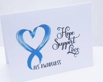 Set of 12 ALS Awareness Thank you Blank Note Cards Fundraising for a Cure. Lou Gehrig's Disease Support Blue White Stripe Ribbon Design