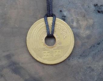 Yen Necklace, 5 Yen Coin, Japanese Yen, Lucky Japanese Coin, Japanese Culture, Anime, Japan, Manga, Otaku, Japanese Jewelry.