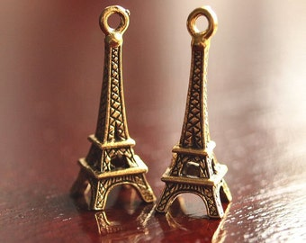 Eiffel Tower Gold Plated Pewter 24mm Charm: 2 pc