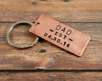 New Dad Gift Dad Keychain New Fathers Day Gift Personalized Gift for Dad Keyring Perfect Gift for Dad Keychain copper New Daddy Key Chain