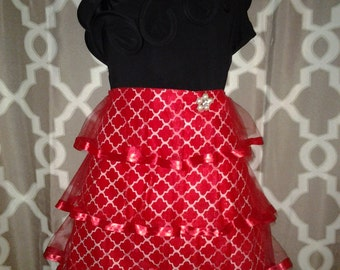 Red Morrocan Couture Waistline Apron