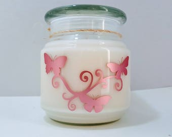 Soy Candle - Butterfly Design - Plumeria Scented Candle - Handmade Candle Jar Gift - Decorative Candle - Floral Scented Butterflies Candle