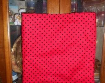 Polka Dot Tote Bag Red & Black Fun Book or Lunch Bag Great Gift Handmade Purse
