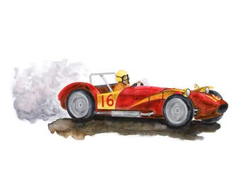 Race Car Wall Art - Toddler Boy Playroom Decor - Car Nursery Print - Race Car Nursery - Ferrari Poster - Boy Nursery Art - Vintage Ferrari