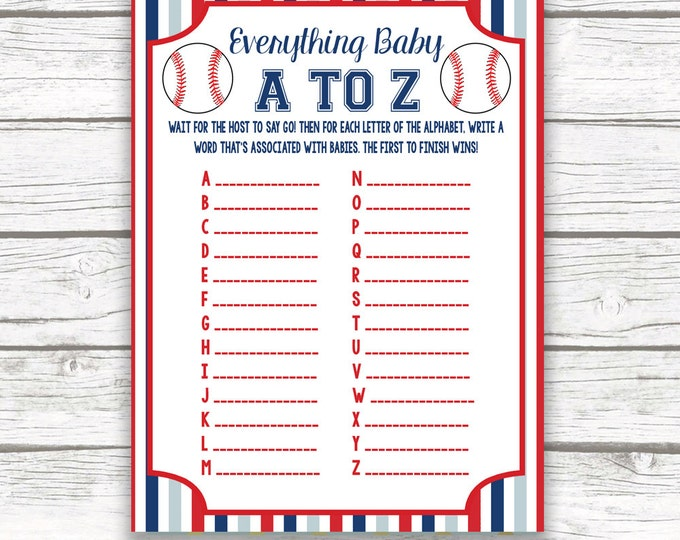Baseball Baby Shower Game Everything Baby A to Z Card, Striped Printable Card, Sports Baby Shower, Baseball Games for Baby, Baby Boy Shower