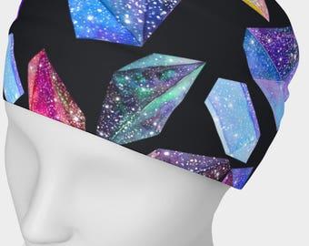 SALE - Crystal on black background headband