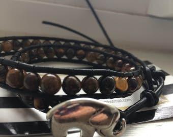 Leather Wrap Bracelet,Boho Wrap Bracelet,Leather Bracelet, Black Leather Cuff Bracelet, Tiger's Eye Wrap Bracelet