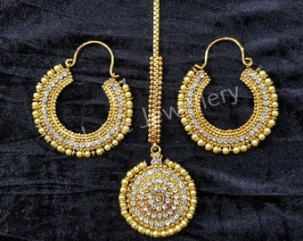 Bollywood Indian pakistani jewellery - hoop earrings  with matching tikka  - manjoos jewellery