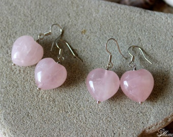 Rose Quartz Earrings, Rose Quartz Heart Earrings, Genuine Rose Quartz Jewelry, Heart Earrings, Pink Gemstone Earrings, Bohemian Earrings