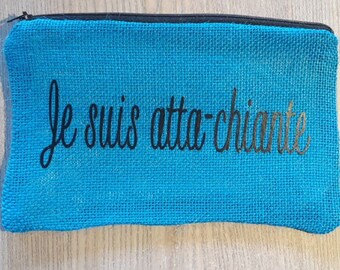turquoise and humorous burlap clutch