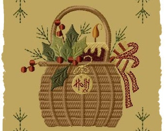 Holly Basket--Version 1--5x7--INSTANT DOWNLOAD