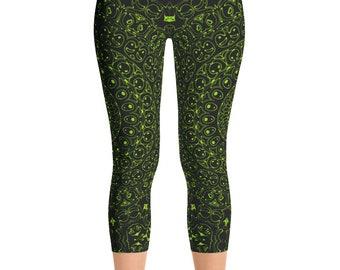 Capris, Chartreuse Yoga Pants, Black Leggings with Green Mandala Designs for Women, Printed Leggings, Pattern Yoga Tights