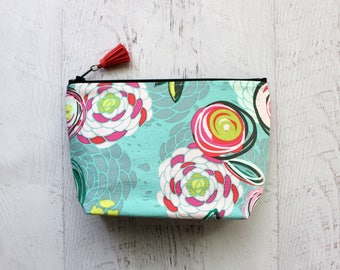 make up bag - cosmetics bag - floral cosmetics organizer bag - cute floral makeup bag - mint floral make up bag  - couch floral purse