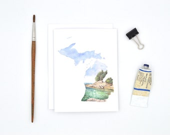 Michigan Greeting Card - Michigan State Art - Watercolor Notecards - Blank Notecards - Michigan Gift - Michigan Wedding - Stocking Stuffer