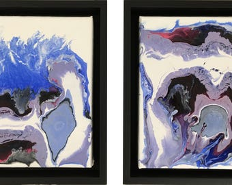 diptych acrylic abstract water-scape