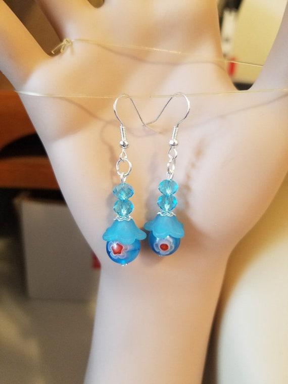 blue bead earrings red flower dangle drop glass beaded handmade jewelry