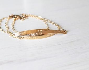 Thin Gold Bar Bracelet, Personalized Bracelet, Silver, Rose or Gold Bar Bracelet, Hand Stamped Gold Bracelet, Name and Date bracelet