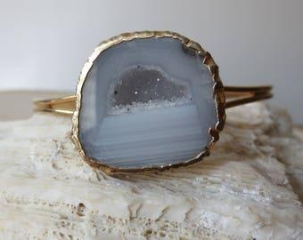Agate geode cuff gold bracelet, geode cuff gold bracelet, agate bracelet