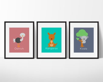 Australian Nursery Decor, Great Outdoors Nursery Decor, Koala, Kangaroo, Ostrich, Outback Wall Art